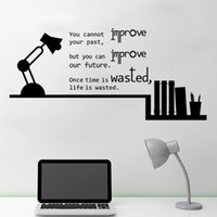 Wholesale quotable wallpapers resale online - Book Shelves Table Lamp Wall Sticker Bedroom Book Room Home Decor Wallpaper Poster Past Future Life Saying Wall Quote Graphic Art Wall Decal