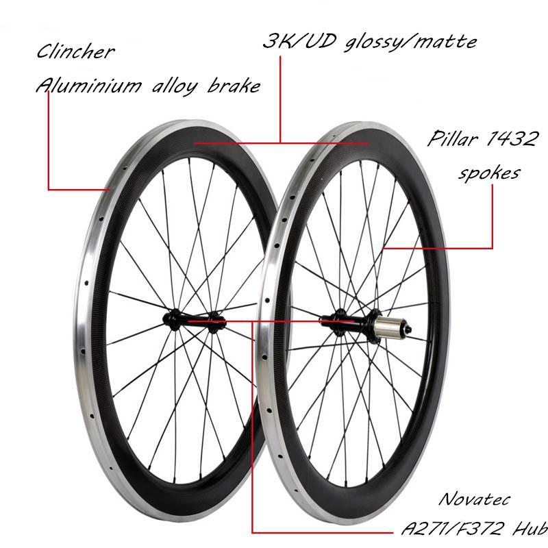 Carbon Wheels 700c Road Bike Carbon Aluminium Alloy Brake 50mm Depth