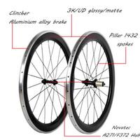 carbon fahrrad räder legierung bremsfläche großhandel-Carbon Wheels 700C Rennrad Carbon + Aluminiumlegierung Bremse 50mm Tiefe * 23mm Breite Drahtreifen Felge 3K / UD glänzend / Matte Oberfläche Radfahren Teile