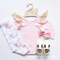 Wholesale Girls Swan Sets - INS baby girl Summer 2piece set outfits Lace Hollow Fly Sleeve romper onesies playsuits + Swan pants legging Pajamas Sets Cotton Cute