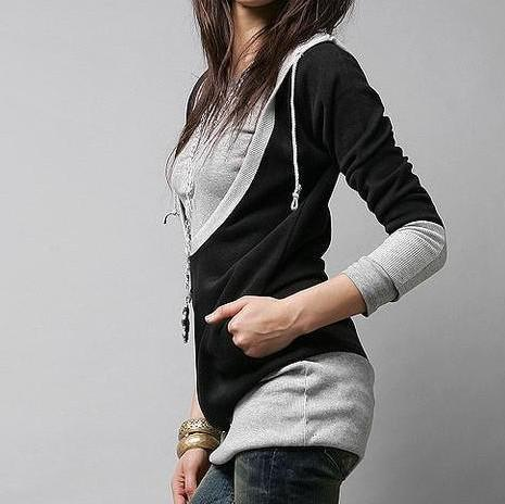 Ny vår höst kvinna mode faux två stycken hoodies toppar tee lady t-shirt t-shirt