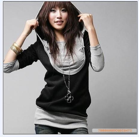 Nouveau Spring Automne Femme Femmes Faux Faux Deux Pièces Sweats à capuche T-shirt T-shirt T-shirt T-shirt