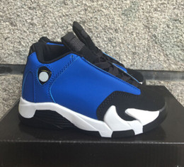 Wholesale Girls Sneakers For Cheap - Retro 14 low Laney Indiglo Kids Basketball Shoes Childrens Shoes Vivid Green 14s Sneakers Cheap Kids Shoes fashion trainers for boys girls