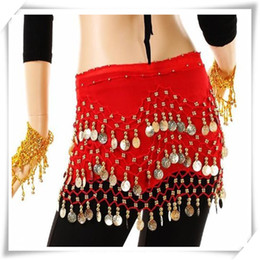 Wholesale High Quality Belly Dance - High Quality 3 Rows 98 Coins Belly Egypt Dance Hip Skirt Scarf Wrap Belt Costume High quality Stage Wear Dance Hip Skirt Scarf