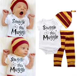 Wholesale Harem Pants Jumpsuit Romper - INS 2016 NWT cute Baby Girls Boys Outfits 3piece Set Cotton Romper Onesies Jumpsuits + Harem Pants + hats Pajamas Set - Snuggle This Muggle