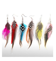 Wholesale Beautiful Feather Earrings - wholesale New Beautiful Fashionable Color Feather Dangle Earrings