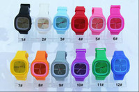 25pcs / lot Hot Sales Square Candy Watch Bracelet Montre bracelet, Unisex Fashion Silicone Jelly Watches
