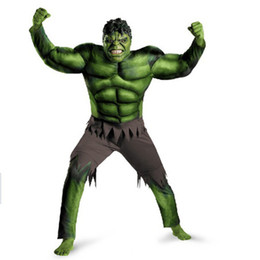 Wholesale Mascot Outfits - The hulk Mascot Costume Fancy Dress Outfit Adult Size green giant dress for Patty Holiday do strange clothes