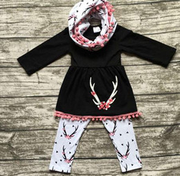 Wholesale Girls Dresses Three Pieces - fall baby girl clothes kids boutique clothing sets girls scarf + tassel long sleeve dress black top + pants childrens outfits 3 piece cotton