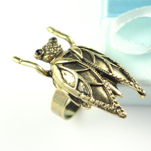 anillos colgantes de insectos | anillo de la joyería del insecto de la cigarra de la aleación de Bijoux | Venta caliente en Estados Unidos, RN-581A.