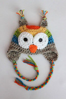 Wholesale Owl Baby Hat Pattern - Crochet Owl Hat With Rainbow Pattern Baby Crochet Hat Free Shipping
