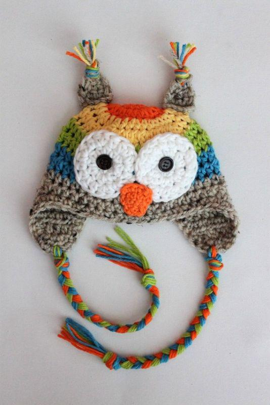 2018 Crochet Owl Hat With Rainbow Pattern Baby Crochet Hat From