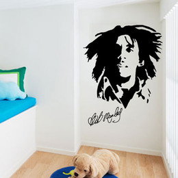 Wholesale Popular Bob - Popular Singer Bob Marley Wall Stickers Home Decor Removable PVC Wallpaper Posters DIY Decorative Wall Graphic Silhouette Mural