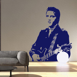 Wholesale Guitar Kid - Popular Rock Star Elvis Presley Playing Guitar Wall Stickers Home Decor Wallpaper Poster Boys Girls Music Fan Wall Applique Decorative Art