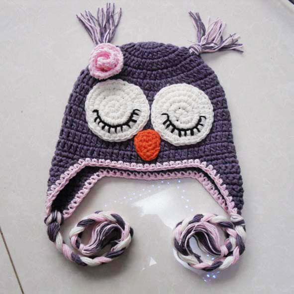 Crochet Baby Hat Owl Monkey Chick Hat 15 unids / lote sombreros de los niños Gorros tejer sombrero Envío gratis