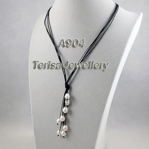 Оптовая красивый 8-9 мм белый цвет жемчужное ожерелье с черной веревкой горячей продажи бесплатная доставка A904
