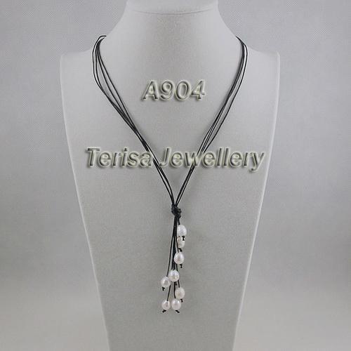 collana bella della perla di colore bianco 8-9mm all'ingrosso con la vendita calda della corda nera trasporto libero A904