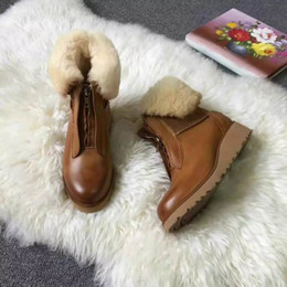 Wholesale Short Flat Boots Fur - 2016 womens luxury brand fashion design boots short snow boot winter shoes for woman high quality fur footwear genuine leather brown