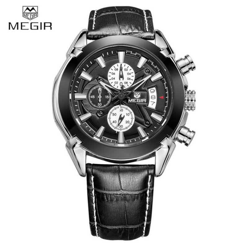 746a2f76af6 Compre Negócios Genuíno Couro Megir Relógios Homens Casual Quartz Relógio  Cronógrafo De Quartzo Homens Relógios De Luxo Da Marca Famosa Relógio De  Pulso ...