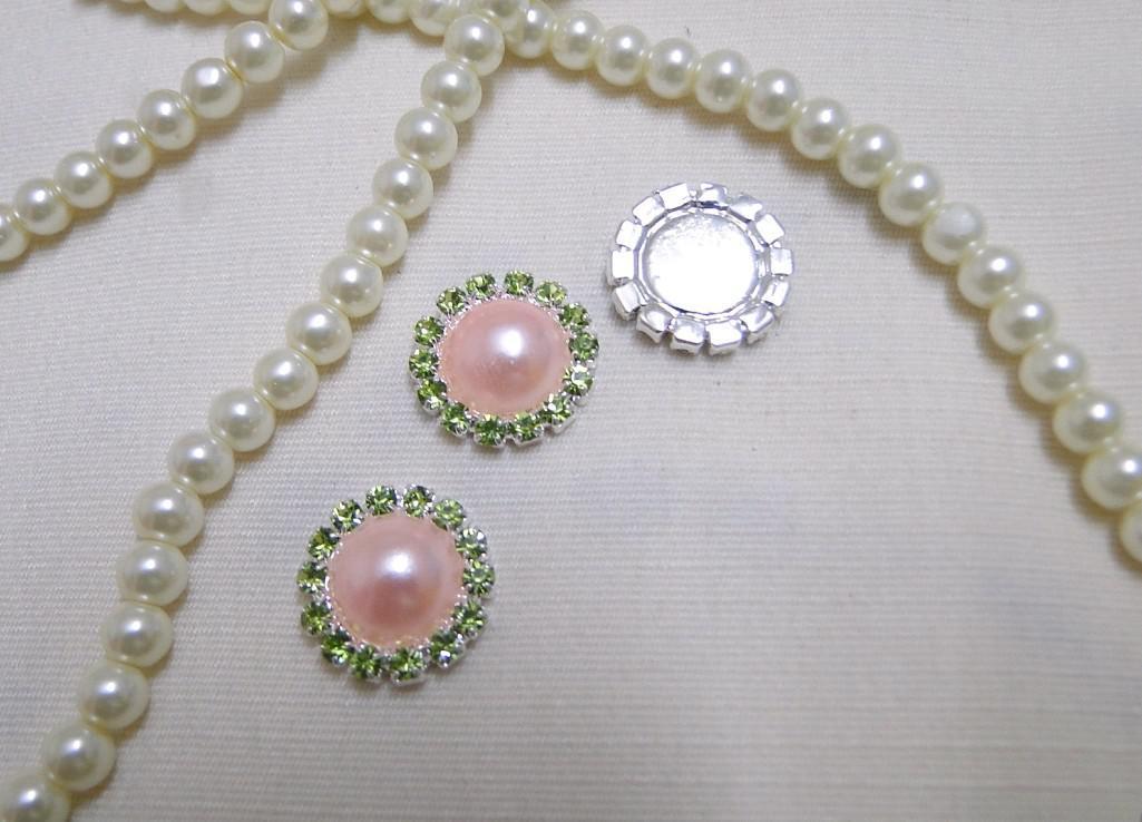 50pcs HOT SELL Pink Pearl Flatback Wedding Favour Box Decor Scrapbook A-Grade Rhinestone Cluster DIY