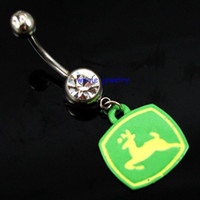 Wholesale Deer Buttons - D0226 deer style belly navel button ring body jewelry 14guage 5 8 mm piercing jewelry clear stone