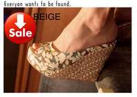 Wholesale Happy Toe - hot 3 colors pink black beige Bothemia sandal happy share with 4 leafs pattern peep toe straw wedges