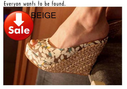 Wholesale Wedge Sandal Red - hot 3 colors pink black beige Bothemia sandal happy share with 4 leafs pattern peep toe straw wedges