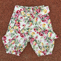 Wholesale Youth Bows - Floral Baby shorts Baby colourful vintage shorts Newborn ruffle SHORTS baby floral bows youth trousers photo free shipping