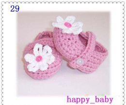 Wholesale Baby Yarn Mixed - New!Hot! Baby crochet shoe girl first walker shoes flower booties 100% cotton yarn mix design custom