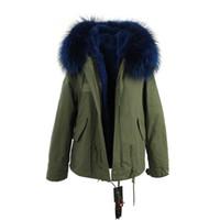 Wholesale white nylon dog collar online - JAZZEVAR brand blue fur trim rabbit fur lining army mini canvas parkas Liner Detachable women snow coats as mrs style