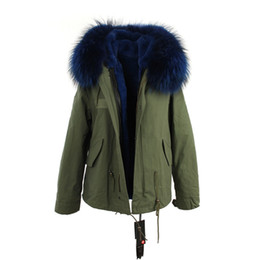 Dog rabbits online shopping - JAZZEVAR brand blue fur trim rabbit fur lining army mini canvas parkas Liner Detachable women snow coats as mrs style