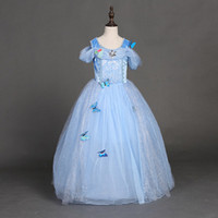 Wholesale Cap Gowns For Wholesale - Snowflake diamond cinderella dress 2017 fancy dress costumes for kids blue cinderella gown Halloween baby girl butterfly dress Free Shipping
