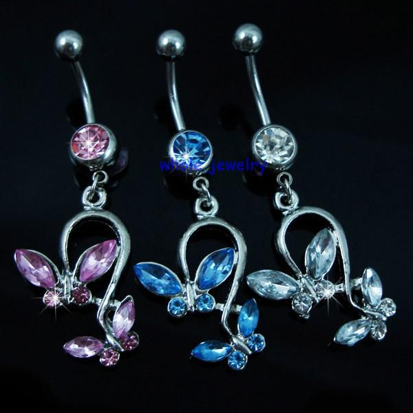 D0053   bowknot style Belly Button Navel Rings Body Piercing Jewelry Dangle Accessories Fashion Charm JFB-7212