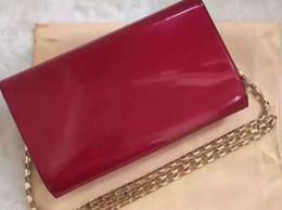 Wholesale Locking Block - 2017new Chain flap Shoulder Bags patent leather bag block decoration women handbag chain lock button messenger bag lou.bag