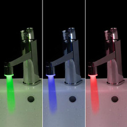 Wholesale Tap Water Stream - Mini Copper Glow LED Water Stream Faucet Tap Temperature Sensor led Faucet 3 Color H4720