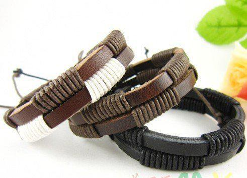 Most Popular Fashion Real Leather braided Bracelets Jewelry Couple Wristband Personalized new xmas gifts 20pcs/lot