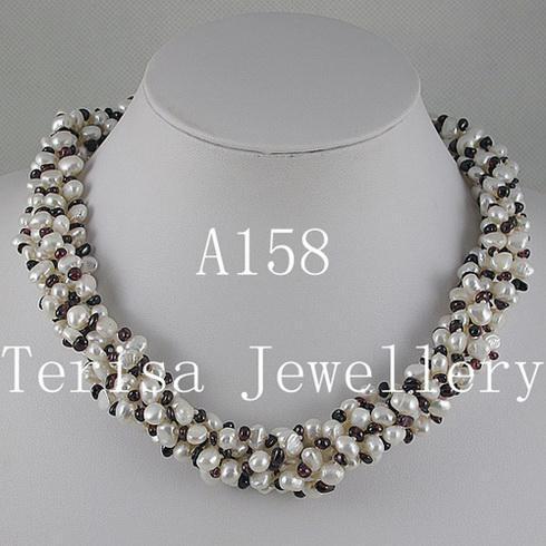Vacker Garnet Pearl Halsband Gratis Fraktkvinna Smycken Halsband 1 st / Parti 6OWS Halsband A158