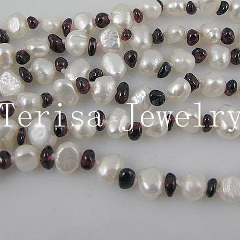 Piękny Garnet Pearl Naszyjnik Darmowa Wysyłka Kobiety Naszyjnik Biżuteria 1 Sztuk / partia 6rows Naszyjnik A158