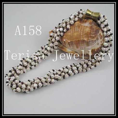 beau collier de perles de grenat livraison gratuite bijoux de femme collier / 6rows collier A158