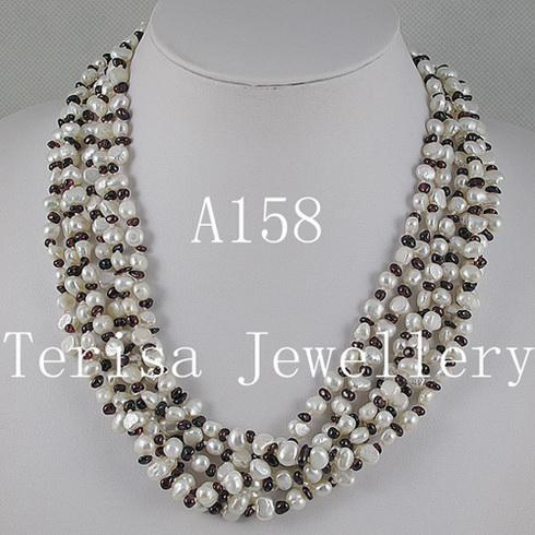 Красивая жемчужное ожерелье гранат бесплатная доставка женщины ювелирные изделия ожерелье 1 шт. / лот 6rows ожерелье A158