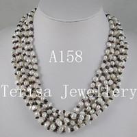ingrosso collane di perle di granato-collana della collana dei monili 1pcs / lot 6rows dei gioielli della collana della bella della collana della perla del granato libera A158