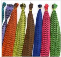 horoz tüyleri saç uzatması toptan satış-16 Inç Sentetik Grizzly Horoz Tüy Saç Uzatma Tüyler Uzantıları 100 ipliklerini ertyqEETT2