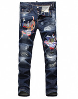 Wholesale Chinese Fashion Jeans - Fashion New Men Skinny Slim Biker Jeans Chinese Style Printing Locomotive Jeans Washed Distressed Casual Blue Jeans