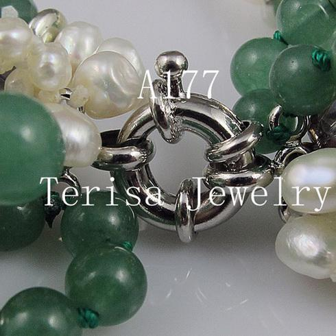 fashion mixes color 7rows Jade crystal bead silver beads pearl necklace Christmas gifts jewelry A177