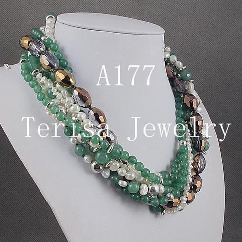 la mode mélange la couleur 7 rangées Jade cristal perle argent perles collier de perles cadeaux de Noël bijoux A177