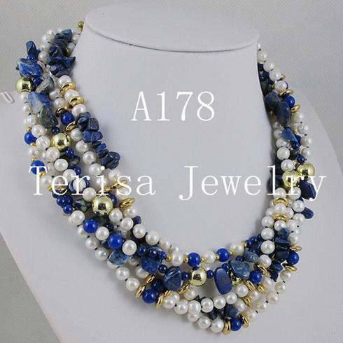 Mode Mixen Kleur 6. Lapis Goud GeplatedFresh Water Pearl Ketting Kerstcadeaus Sieraden A178