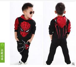 Wholesale Classic Boys Costumes Kids - hot!! Marvel Comic Classic Spiderman Child Costume Sports suit 2 pieces set Tracksuits Kids Clothing sets Coat+Pant