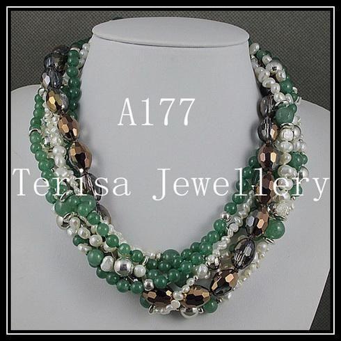 Fashion Mixes Färg 7OWS Jade Crystal Bead Silver Pärlor Pärlhalsband Julklappar Smycken A177