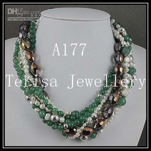 Moda Mieszanki Kolor 7rows Jade Crystal Bead Srebrne Koraliki Pearl Naszyjnik Boże Narodzenie Prezenty Biżuteria A177