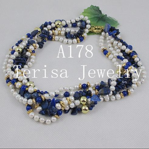 fashion mixes color 6rows lapis &gold plated&fresh water pearl necklace Christmas gifts jewelry A178
